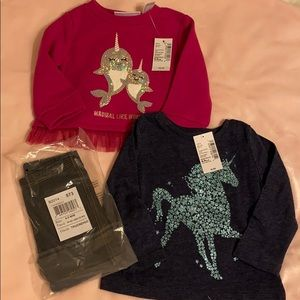 Baby girl's Children's Place tops and leggings
